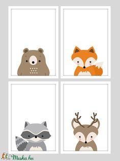 Erdei állatos (mosómedve,róka,szarvas,medve) keretezett falikép sorozat / babaszoba dekoráció (4 db) 20x30-as méretben (MesesGyerekszoba) - Meska.hu