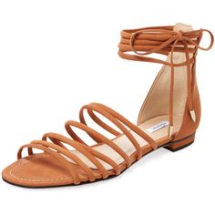 Elorie Elorie Women's Suede Strappy Flat Sandal - Cognac - Size 5 ($89) ❤ liked on Polyvore featuring shoes, sandals, cognac, multi-strap sandals, suede shoes, flat sandals, bow t-strap sandal and bow shoes