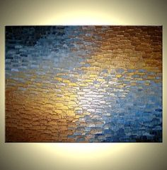 Original Abstract Art  Gold Metallic Painting  Palette Knife