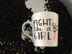 Fight Like A Girl Hand Painted 16 oz Mug/Cancer Survivor/Get Well/Gift Idea by Morning Blues Shop, $16.50 USD