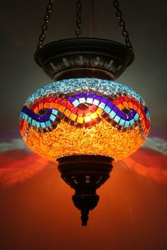 EXTRA LARGE TURKISH MOROCCAN MOSAIC HANGING LAMP SHADE PENDANT LANTERN LIGHT