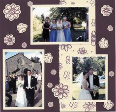 Wedding Scrapbook ideas  - use solid color backgound paper black/white and some color in embellishment, but not as many flowers as this page, to look more elegant