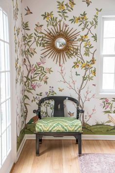 dining room corner before and after How To Hang Wallpaper, Cool Wallpaper, Dining Room Corner, Chinoiserie Wallpaper, Inspirational Wallpapers, Kitchen Doors, Luxury Interior Design, Luxury Homes, New Homes