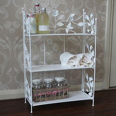 Cream Rose Butterfly Metal Shelf Unit | eBay