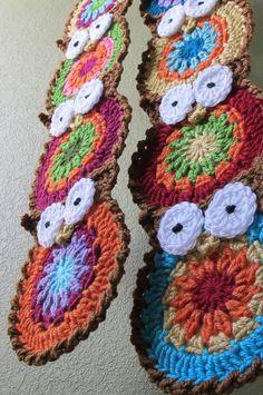 PATTERN - B HOO UR Scarf - a colorful owl scarf. $5.00, via Etsy.