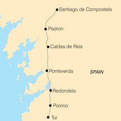 Map of The Portugese Way, Camino de Santiago
