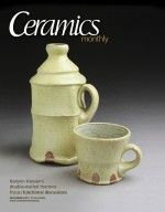 Ceramics Monthly's December 2010 cover, featuring Kenyon Hansen's Thermos set, 8 in. (20 cm) in height, stoneware, wheel thrown with a double wall, with glaze, fired to cone 9-10 in a noborigama wood kiln.