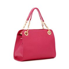 Embossed Chain Leather Satchel Pink