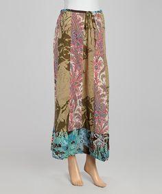 Another great find on #zulily! Green Paisley Silk-Blend Maxi Skirt #zulilyfinds