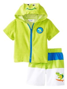 d84b7c115718f Wippette Baby-Boys Infant Turtle Swim Trunk & Cover Up, Lime, 24 Months.  Zip front terry cover up with cute turtle face on hood. Cover-up set with  turtle ...