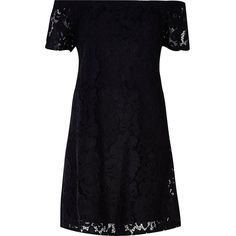 River Island Black lace bardot swing dress (540 EGP) ❤ liked on Polyvore featuring dresses, sale, river island, tent dress, river island dresses, tall summer dresses and summer swing dress