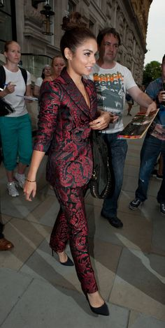 """Vanessa Hudgens Continues Her Classy Look"" A patterned suit is on trend but also incredible."