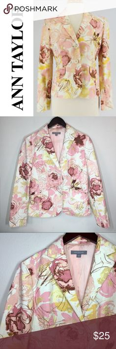 "Ann Taylor Floral Blazer ✔️Two Button Closure ✔️Front Flap Pockets ✔️Beautiful Pink Lining ✔️Armpit to Armpit: 19"" approx. ✔️No Holes, Stains or Damages Ann Taylor Jackets & Coats Blazers"