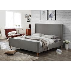 LuXeo Bedford Grey Upholstered King Platform Bed (King Size In Gray)