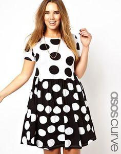 Image 1 ofASOS CURVE Smock Dress In Spot Print