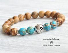 Imperial Jasper Yoga bracelet Turquoise & brown Beaded