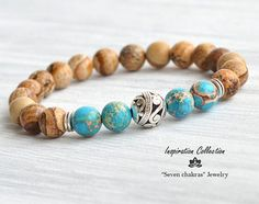 Imperial Yoga jaspe pulsera turquesa y marrón turquesa pulsera