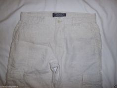 Old Navy Surplus Linen Cargo Pants 32 (34) Casual Beach Adventure Travel *LKNEW* #OldNavySurplus #CasualPantsCargoPants
