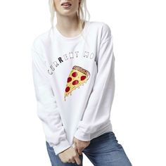 Women white letters pizza print sweatshirt cute cake pattern O-neck long sleeve pullover fashion casual loose tops  #love #fashion #cute #shopping #lookbook #streetstyle #igdaily #pretty #streetfashion #loveit