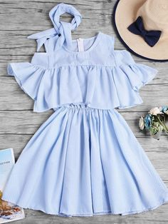 Open Shoulder Fluted Sleeve Striped Frill Dress With Ribbons - Trendy Outfits Teen Fashion Outfits, Cute Fashion, Trendy Outfits, Girl Fashion, Cool Outfits, Summer Outfits, Fashion Dresses, Fashion Tag, 90s Fashion