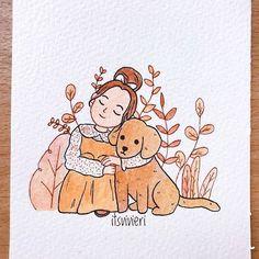 itsvivieri- Day 5 of is Dog 🐶❤️ Fall Drawings, Girly Drawings, Cool Art Drawings, Art Drawings Sketches, Art And Illustration, Cartoon Kunst, Arte Sketchbook, Cartoon Art Styles, Cartoon Girl Drawing