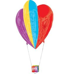 Happy Birthday Balloon - 3D Hot Air Balloon 26in x 30in - Party City