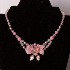 Vintage Pink Floral Bead Choker Necklace. $21.00, via Etsy.