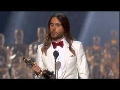 """Anne Hathaway presenting Jared Leto with the Oscar® for Best Supporting Actor for his performance in """"Dallas Buyers Club"""" at the Oscars® in Jared Leto winning Best Supporting Actor Oscar Films, Love Speech, Dallas Buyers Club, Wonder Boys, Best Supporting Actor, Bruce Springsteen, Bright Stars, Jared Leto, Gorgeous Men"""