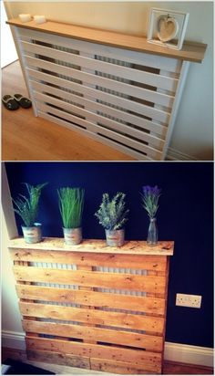 Radiators are a necessity but sometimes they can look boring. So, for that you can always hide them in a way that the radiator cover itself becomes a decor Diy Entryway Table, Decor Magazine, Home Decor, Apartment Decor, Home Diy, Pallet Furniture, Diy Radiator Cover, Diy Entryway, Diy Home Decor On A Budget