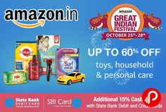 Amazon is offering Upto 60% off on Toys, Household, Personal Care Products. Up to 50% off Pets Supplies Up to 60% off on Toys & Games Up to 35% off on Baby Products Up to 25% off on Beauty Products Up to 25% off on Household Supplies Up to 30% off Grocery & Gourmet Foods Up to 40% off on Health & Personal Care Up to 40% Off on Personal Care & Health Appliances  http://www.paisebachaoindia.com/toys-household-personal-care-products-upto-60-off-amazon/