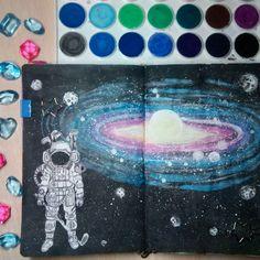 #wtj #wreck this journal #art # my art #artbook #illustration #sketch #sketchbook #drawing #уничтожь меня #космос #космонавт #гольф #галактика #луна #space #astronavt #moon