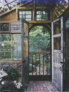 Lovely garden shed door leading out to the garden; Garden Shed Magazine 2002 Outdoor Rooms, Outdoor Gardens, Outdoor Living, Witch Cottage, Witch House, Dream Garden, Home And Garden, Gazebos, She Sheds
