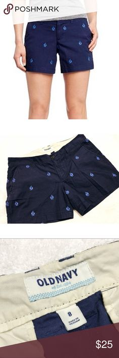 Old Navy • Sailboat Shorts Old Navy • Sailboat Shorts. Navy with light blue embroidered anchors. Size 8. In excellent condition!  Make an offer! Old Navy Shorts