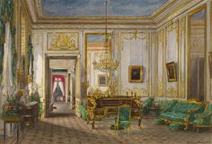Queen Victoria's sitting room at Saint-Cloud, 1855. Queen Victoria wrote in her journal that she 'awoke to admire our lovely room…the ceilings are painted to represent sky'. The large desk at the centre is a famous roll-top bureau that had belonged to Louis XV.