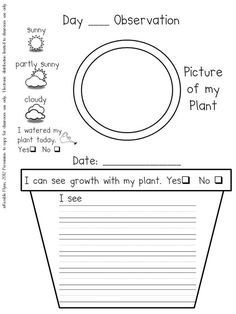 preschool plant journals template | Plant Journal