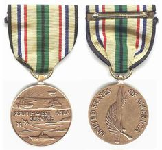 The Southwest Asia Service Medal is a military award of the United States armed… Us Military Medals, Military Post, Military Careers, Military Service, Military Men, Military History, Operation Desert Shield, Presidents In Order, Usmc