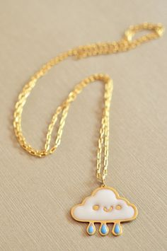 Wolkenkette // Golden necklace with cloud and raindrops by KazeNg via DaWanda.com