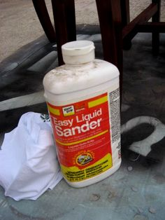 """Did you know they make a """"Liquid Sander""""? This is a tut on spray painting furniture but I find this liquid sander info very helpful."""