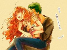 One Piece - Roronoa Zoro x Nami Don't ship this but still really cute.