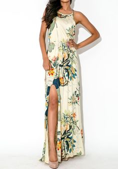 pastoral side slit maxi dress