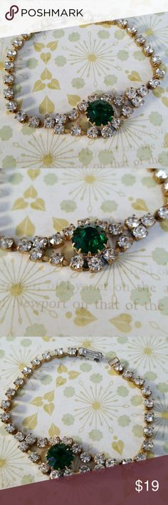 Vintage rhinestone crystal bracelet From Czech republic  Excellent vintage condition  New Old Stock  Sparkling white rhinestones with large Emerald crystal center stone Bijoux M.G Jewelry Bracelets