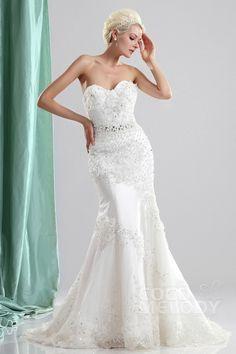 Glamour Trumpet-Mermaid Sweetheart Sweep-Brush Train Organza Wedding Dress CWLT130E5 #weddingdresses #cocomelody