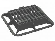 Dished Gully Grate Ductile Iron Cover and Frame. Kitemarked to EN 124 Class Black Bitumen Coated, End Hinged/ Locking Ductile Iron, Cover, Frame, Black, Picture Frame, Black People, Frames