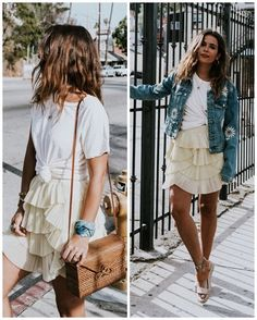 White knot t-shirt+vanilla ruffled skirt+brown flat sandals+brown basket bag+floral embroidery denim jacket+gold necklace. Summer Casual Outfit 2017