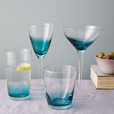 Ombre Colored Glassware in Teal (ON SALE $19.99 - $23.99 as of 6/4/13 @ WestElm.com) #WestElm