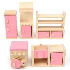 Jogo de madeira da boneca brinquedos para crianças da família casa em miniatura Kit Acessórios móveis na Banggood