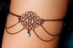 Gypsy Armlet, Gypsy Arm Band, Gypsy Armet, Arm Jewelry. $30.00, via Etsy.
