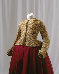 Jacket  Date: ca. 1616 Culture: British Medium: linen, silk, metal Dimensions: L. at center back: 16 ½ in. (42 cm). Credit Line: Rogers Fund, 1923 Accession Number: 23.170.1