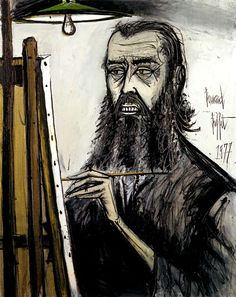 A self portrait of Bernart Buffet.  Kind of reminds me of Rasputin.  Great style though.