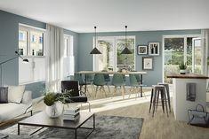 Bildresultat för vardagsrum inspo blåa väggar